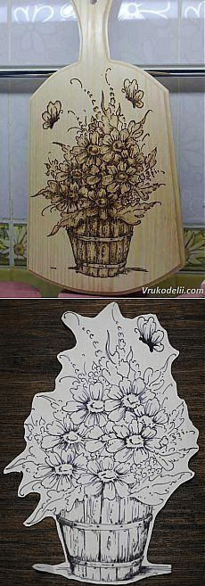 Basket of flowers with bees butterfly on cutting board Wood Burning Crafts, Wood Burning Patterns, Wood Burning Art, Pyrography Designs, Pyrography Patterns, New Crafts, Diy And Crafts, Diy Projects To Try, Wood Projects