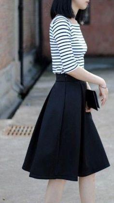 Black Pleated Aline Skirt