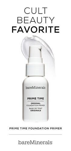 Enlarged pores. Uneven texture. Flaky dryness. We've all had complexion problems. That's why bareMinerals created Prime Time Foundation Primer, which prepares your skin for seamless coverage with bareMinerals Foundation. Apply it first for the smooth, evenly textured complexion you've been waiting for.
