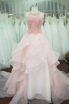 2018 evening gowns - Pink tulle round neck A-line floor-length prom dresses,long dress for teens
