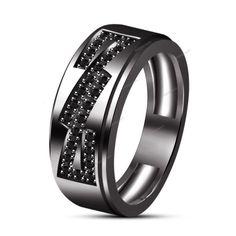 Round Multi Stone IN Prong Set Men's Band Ring 14K Black Gold Finish 925 Silver #Biejojewels #MensRing
