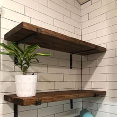 Reclaimed Style Floating Shelves with Brackets - Solid Wood Rustic Shelving for your Walls - Creative Storage Ideas - Rustic Wood Shelving, Rustic Wood Floating Shelves, Floating Shelf Brackets, Industrial Shelving, Wooden Shelves, Creative Storage, Storage Ideas, Bohemian Bedroom Decor, Iron Pipe