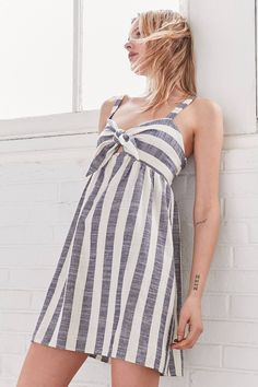 Slide View: 1: Cooperative Tie-Front Striped Mini Dress