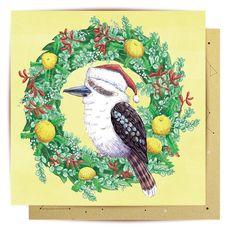 Greeting Card Christmas Kookaburra from Lalaland Australian Christmas Cards, Australian Gifts, Aussie Christmas, Summer Christmas, Australian Animals, Christmas 2019, Christmas Sewing, Christmas Cards To Make, Aussies