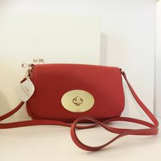 Coach Clutches & Wallets - NWT COACH Pebbled LEATHER Clutch Crossbody in RED