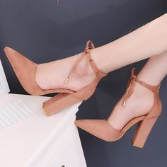 plardin 7 Colors Pointed Strappy Pumps Sexy Retro High Thick Heels Shoes 2108 New Woman Shoes Female Lace Up Shoes Woman Sandals - Schuhe High Heels Stiletto, Strappy High Heels, Prom Heels, Pointed Toe Heels, Thick Heels, Lace Up Heels, Stilettos, Pumps Heels, Heeled Sandals