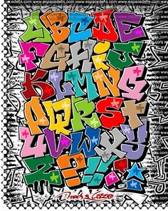 Graffiti Alfabeto A to Z. Graffiti Alphabet Letters A-Z Full Color Graffiti Lettering Alphabet, Graffiti Artwork, Graffiti Drawing, Doodle Lettering, Creative Lettering, Street Art Graffiti, Doodle Fonts, Typography, Calligraphy Alphabet