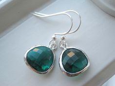 Emerald Green Earrings  Dark Green Jewelry  by Sparkleandswirl, $20.00