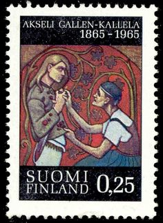"Stamp: ""Brother Murdered"" Painting by Gallen-Kallela, A. (Finland) Birth Day of Akseli Gallen-Kallela) Mi:FI 597 Lapland Finland, Postage Stamp Art, Stamp Collecting, Ephemera, Nostalgia, Baseball Cards, Prints, Painting, Birth"