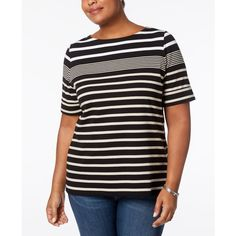Karen Scott Plus Size Cotton Multi-Stripe Top, Created for Macy's ($33) ❤ liked on Polyvore featuring plus size women's fashion, plus size clothing, plus size tops, deep black, stripe top, womens plus tops, karen scott tops and graphic tops