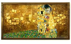 """July 14, 2012 Google gave a gilded nod to the 150th birthday of Austrian artist Gustav Klimt with a Google doodle interpreting one of the symbolist painter's most famous works. The original version of """"The Kiss,"""" depicts a couple mid-embrace and was inspired by the Arts and Crafts and Art Nouveau movements. Some of Klimt's best-known work was gilded, completed during his """"Golden Phase."""""""