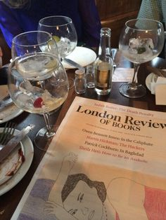 Enjoying LRB during a Costa Book Awards reunion at the London Gin Club.