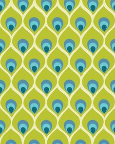 Modern Peacock Feather Blue Green Abstract Pattern Stretched Canvas