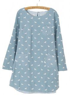 Blue Sheep Print Pockets Long Sleeve Denim Dress