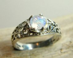 Moonstone Ring Filigree Ring Sterling Silver Ring by SagesLeaf