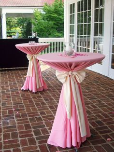 Dressed High Top Tables With Simple Centerpieces On The Veranda.