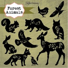 Forest Animals is a set of gorgeous forest creatures with filigree vines and leaves. They are delivered as separate .png files with transparent backgrounds, ready to be incorporated into Animal Silhouette, Silhouette Art, Squirrel Silhouette, Forest Silhouette, Eagle Silhouette, Flower Silhouette, Forest Creatures, Forest Animals, Paper Cutting