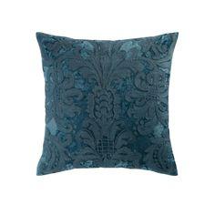 Kissen aus Velours und Wolle gestickt blau 45 x 45 cm PERUGE