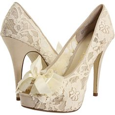 cream lace pumps