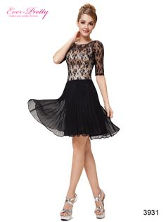Ever Pretty Half Sleeve Black Lace Pleated Skirt Short Party Dress 03931 Unique Cocktail Dresses, Junior Cocktail Dresses, Black And White Cocktail Dresses, Cocktail Dresses With Sleeves, Lace Dress With Sleeves, Sleeved Dress, Cheap Maxi Dresses, Black Prom Dresses, Short Dresses