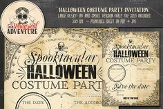 Halloween Costume Party Invitation by On A Whimsical Adventure on @creativemarket Here's a large (8,5 x 11 in) invitation template for your next Halloween costume party! I've included two small versions as well of half the size on a separate sheet. Just add your own text (handwriting, word or any other method you prefer), print, ready! If you would like me to customize the text for you, do not hesitate to contact me.