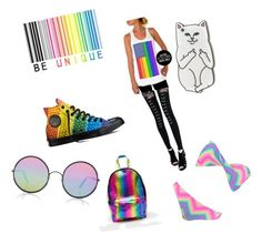 """""""rainbow"""" by catkanepainter on Polyvore featuring Converse, ASOS, RIPNDIP, Sunday Somewhere and Boohoo"""