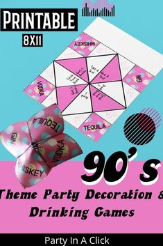 90's Themed Bachelorette Party Decorations and Drinking Games. Printable Fortune Tellers with a retro theme. Bachelorette Party Drinks, Bachelorette Party Decorations, Birthday Party Decorations, 2000s Party, Fun Drinking Games, 90s Theme, Bridal Shower Party, Get The Party Started, 30th Birthday