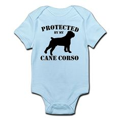 CafePress - Protected By My Cane Corso - Cute Infant Bodysuit Baby Romper