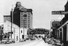 """This picture affords a view of Hubbard Street, in Mineral Wells, Texas,looking east. Please note the sign above street, """"Welcome to Mineral. Mineral Wells Tx, Hubbard Street, Texas History, Old Buildings, Southern Style, Time Travel, Old Town, Places, Fort Worth"""