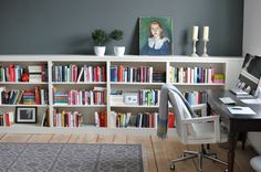 Where I work | from 'taking notes' | Love the idea of the low bookshelfs