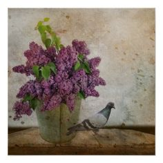Lilacs in an old Rusty Bucket Poster - photography gifts diy custom unique special