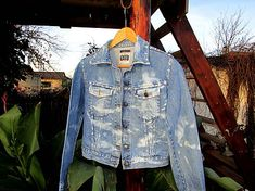 Maryval / Upcyklovaná denimová bunda s ošúchaným efektom Detail, Jackets, Fashion, Down Jackets, Moda, Fashion Styles, Fashion Illustrations, Jacket