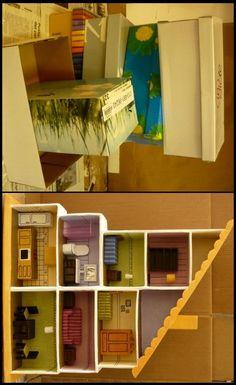 Reciclable 100% - Casita de Muñecas y sus muebles con Cajas de Zapatos -   http://ecoplanetaverde.com/?tag=munecas