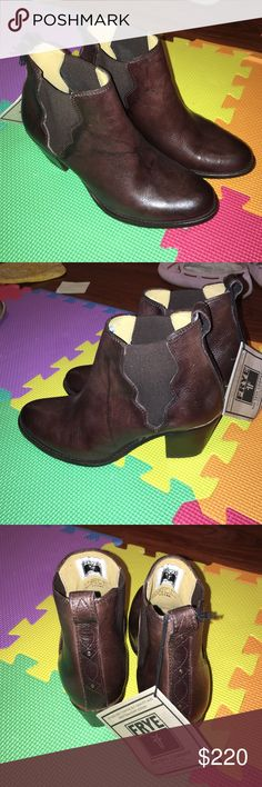 Frye dark brown vintage/rustic leather ankle boots Brand new never worn very nice soft leather only tried on once never leave the house, I am personally a size 6.5 wide wears this size 7 perfectly, I would recommend for people size 6-6.5 Frye Shoes Ankle Boots & Booties