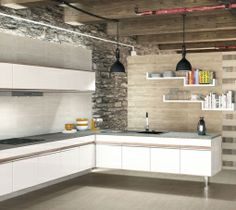 Modern combined with rustic Kitchen Tile, Kitchen Island, Kitchen Decor, Kitchen Cabinets, Kitchen Modern, Tiles, Rustic, Room, Home Decor