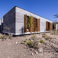 Casa Candelaria: The design of the 1,500 sq meter home was based on the traditional Mexican hacienda, which focuses on living arrangements around courtyards. The walls of the home is made from 50cm thick rammed earth, using soil that was excavated directly from the site. Pigments were then added to create an ash-finish. The use of rammed insulates the home when temperatures drop at night, while minimizing solar gain in the day.
