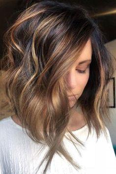 Hair color balayage brunette medium ideas for 2019 Balayage Hair Brunette Short, Hair Color Balayage, Hair Highlights, Lob Ombre, Brunette Hair, Short Ombre, Caramel Highlights, Color Highlights, Ombre Hair