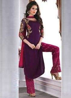 Amazing Wine Chiffon Embroidered Top With Karachi work Bottom Party Wear Salwar suit
