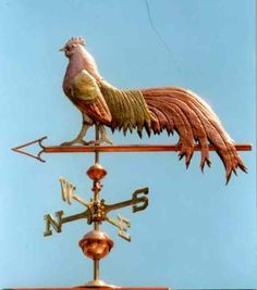 "Rooster Weather Vane, Phoenix Bantam by West Coast Weather Vanes.  Our Phoenix Bantam rooster weathervane was originally commissioned by a customer who raises Onagadori type long tail chickens. This weathervane was to go atop her ""Banty Barn""."