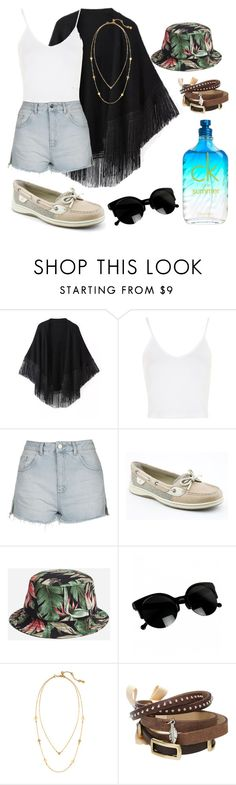 """""""H.2"""" by hannahjerao on Polyvore featuring Relaxfeel, Topshop, Sperry, HUF, Chloe + Isabel, TOKYObay and Calvin Klein"""
