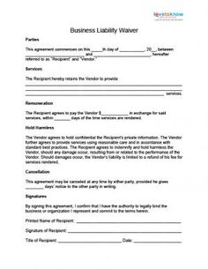 Liability Waiver Template  Free Word Templates  Liability