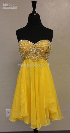 Wholesale New 2011 Custom Made Hot Sexy A-line Sweetheart Chiffon Beaded Short Yellow Homecoming Dress Dress, Free shipping, $67.63-90.27/Piece | DHgate