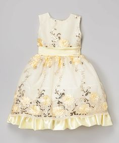 Look what I found on #zulily! Yellow & White Sequin Floral Dress - Girls by Kid Fashion #zulilyfinds