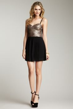 MINKPINK The Shining Sequin Pleated Dress