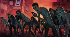 """culturenlifestyle: """" Satirical Illustrations by Steve Cutts Depict The Harsh Truth About Modern Society London-based illustrator and animator Steve Cutts composes satirical images, which challenge and. Fever Ray, Technology Addiction, Satirical Illustrations, Art Illustrations, Powerful Art, Powerful Images, Photoshop, Zombie Apocalypse, Scary"""
