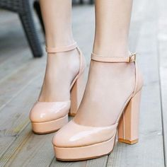 Sexy Ankle Strap Platform Chunky High Heels Pumps Evening Shoes Apricot US8 #Handmade #PumpsClassics #CasualCareerOfficeLadyCocktailWeddingParty