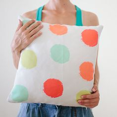 Pillow Cover Throw Pillow Mint Orange Green Pink by twiggsdesigns, $35.00