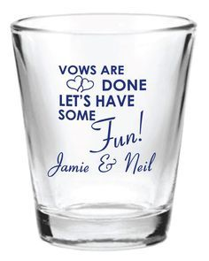 96 Personalized 1.5oz Wedding Favor Glass Shot Glasses Custom Wedding Favors by Factory21 on Etsy
