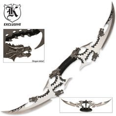 Six Dragon Head Double Blade Sword | BUDK.com - Knives & Swords At The Lowest Prices!