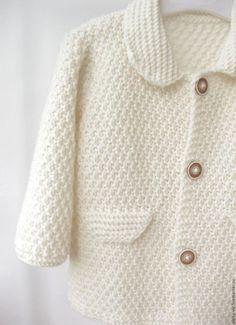 """Одежда для девочек, ручной работы. Ярмарка Мастеров - ручная работа. Купить Вязаный кардиган /вязаное пальто для девочки """"Casual"""" молочного цвета. Handmade."""